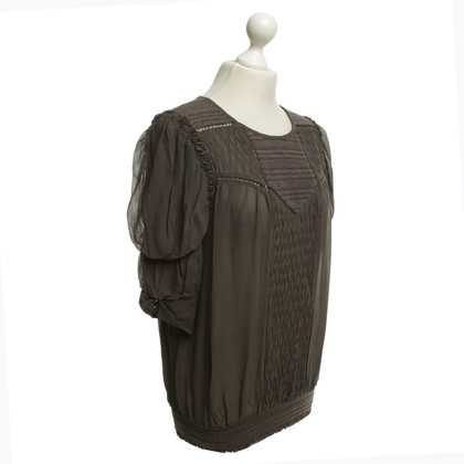 Isabel Marant Playful silk top in taupe