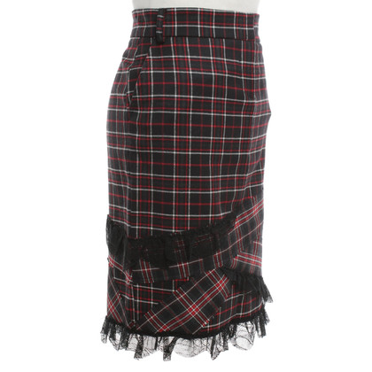 Patrizia Pepe Checkered skirt with lace