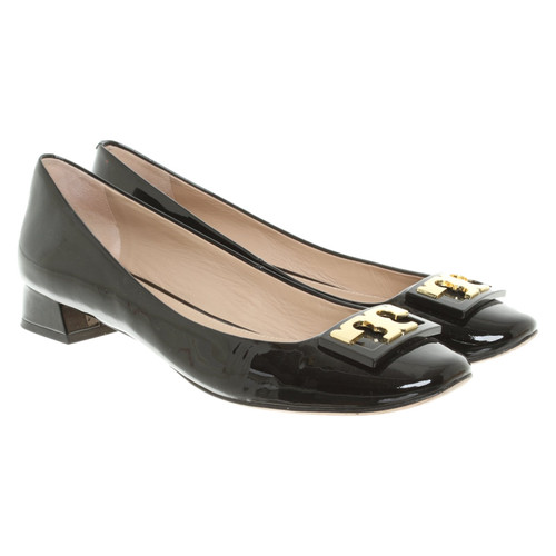 46da4e5d42317 Tory Burch Slippers Ballerinas Patent leather in Black - Second Hand ...