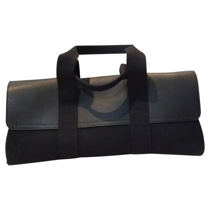 Hermès Leather / linen handbag