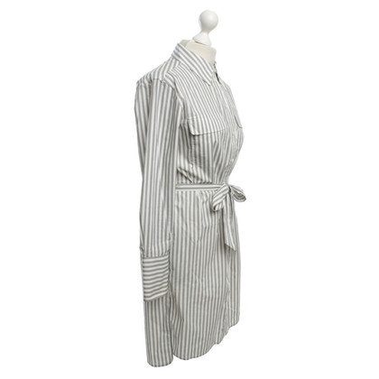 Equipment Blouse dress with striped pattern in black / white
