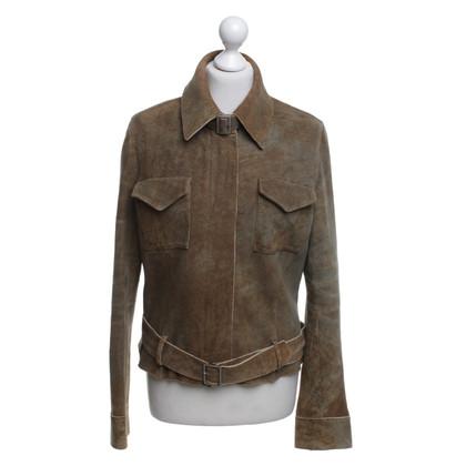 Baldinini Leather jacket in green