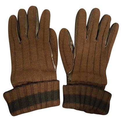 D&G Wollen handschoenen met lederen inzetstukken