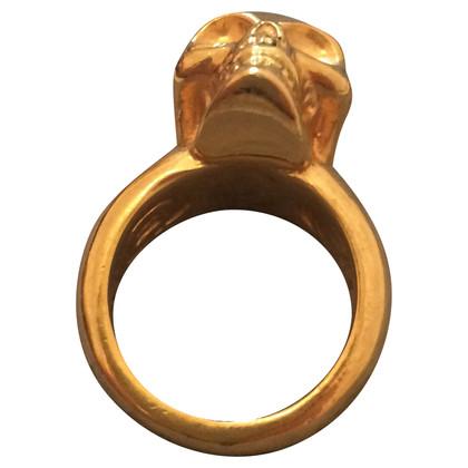 Alexander McQueen Ring mit Totenkopf-Motiv