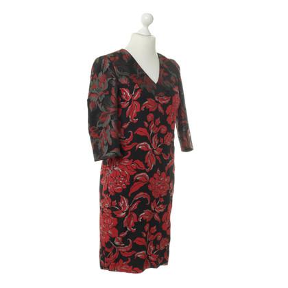 Rena Lange Brokaat jurk in rood zwart