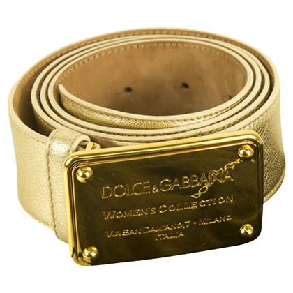 Dolce & Gabbana Gold Matte Leather Belt SZ 95cm, 38''