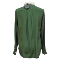 Céline Silk blouse in green / white