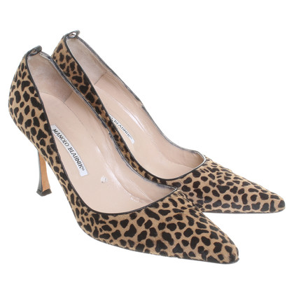 Manolo Blahnik Real fur Pumps with Leopard print