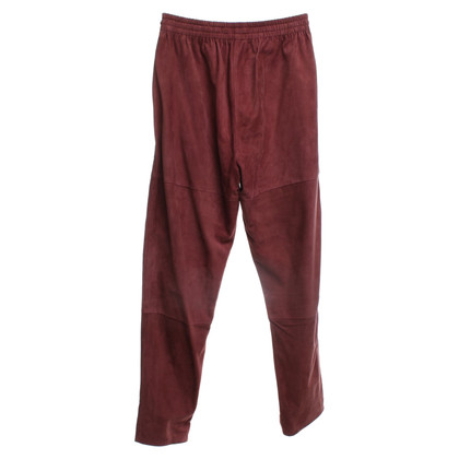 Closed Wild leather trousers in rust brown