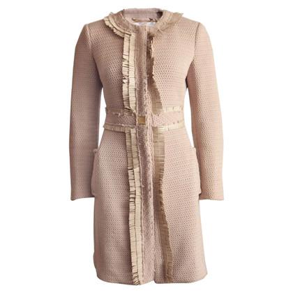 Elisabetta Franchi Coat with leather fringes