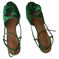 L'autre Chose Groene lederen sandalen
