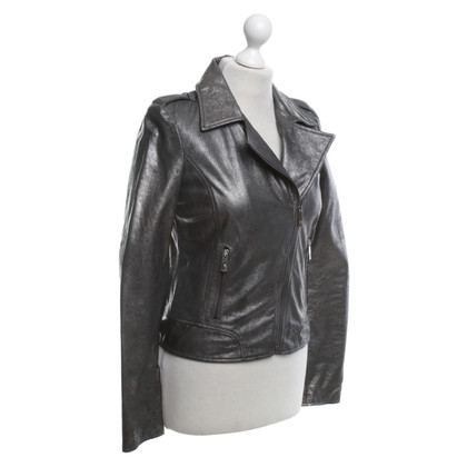 Faith Connexion Silver leather jacket