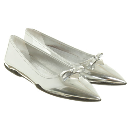 Prada Spitzer ballerina in silver tone