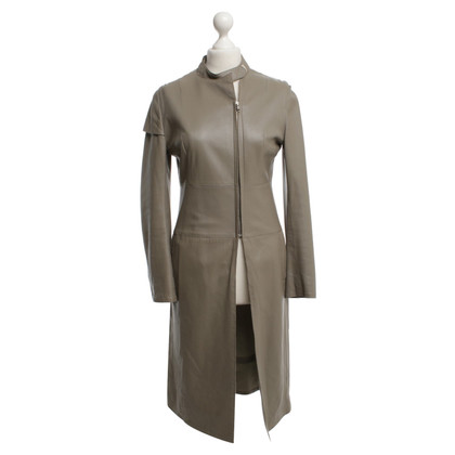 Costume National long manteau gris colombe en cuir