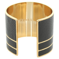 Reiss Gold colored bangle with leather