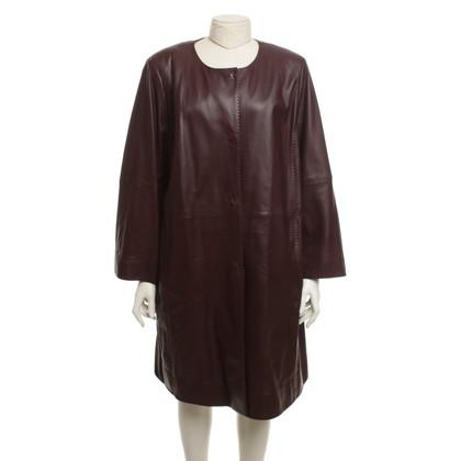 Marina Rinaldi Leather jacket in Bordeaux