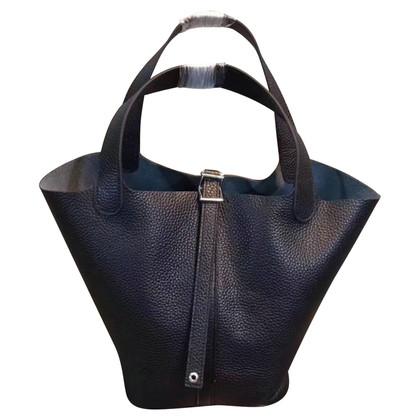 """Hermès """"Picotin 22 Clémence Leather Noir"""""""