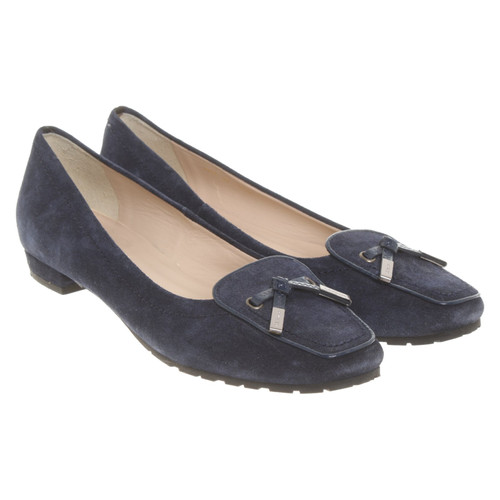 694e9c180 L.K. Bennett Slippers/Ballerinas Suede in Blue - Second Hand L.K. ...