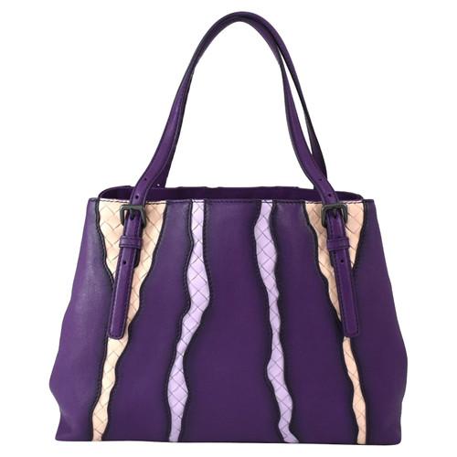 ca1643571cff Bottega Veneta Tote bag Leather in Violet - Second Hand Bottega ...