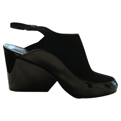 Robert Clergerie black shoes in suede and patent leather