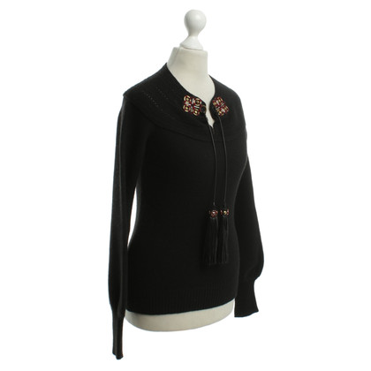 Gucci Fine knit sweater with leather cords