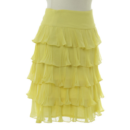 Reiss Flounce skirt in yellow