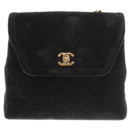 Chanel Zwarte schoudertas gemaakt van suède