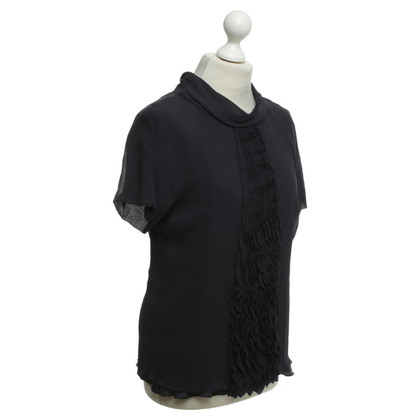Laurèl Silk top in dark blue