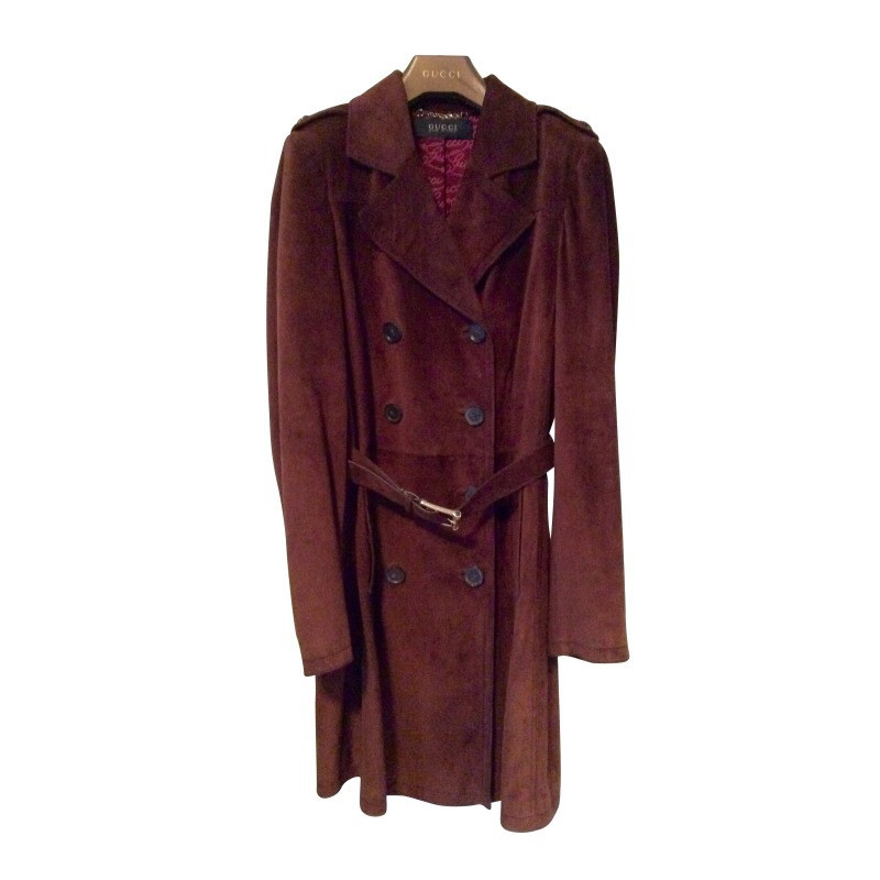 gucci leather coat with bamboo belt buy second