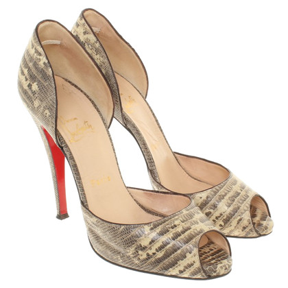 Christian Louboutin Lizard leather peep toes