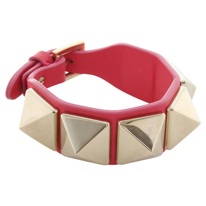 Valentino Rockstud leather bracelet in pink