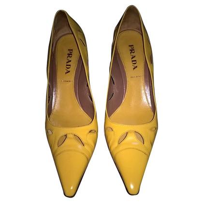 Prada scarpe spazzolato city gold 36