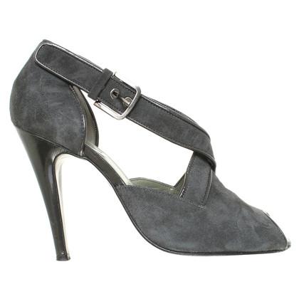 Calvin Klein Suede peep-toes in green