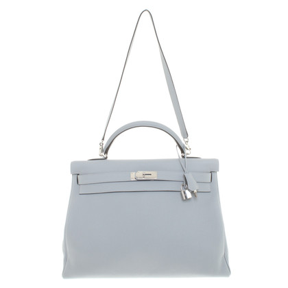 "Hermès ""Kelly Bag 40 Clémence-Leather Blue Glacier"""