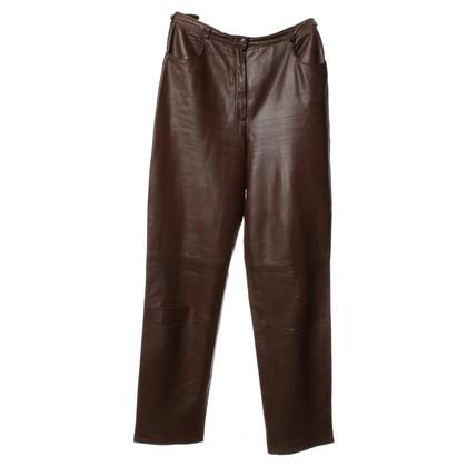 Escada Pantaloni di pelle marrone