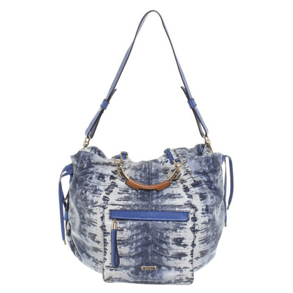 Escada Handbag in blue / white