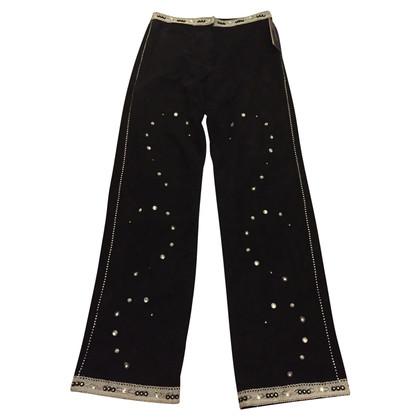 Mabrun Mabrun Embellished Black Suede Pants
