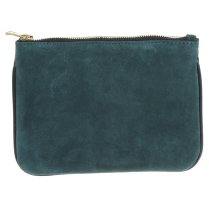 Balmain X H&M clutch Pochete green suede leather new