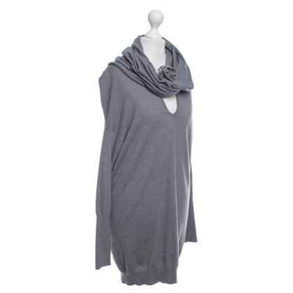 Brunello Cucinelli Gray Long Jumper with Loop Scarf