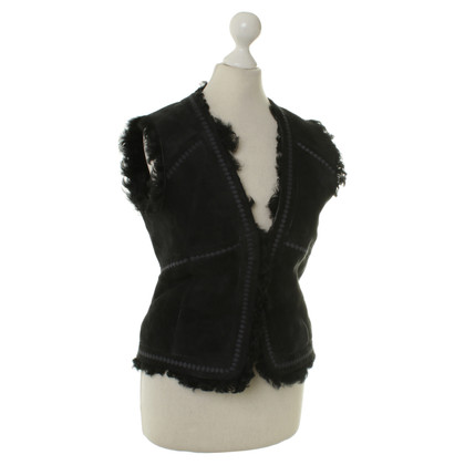 Hugo Boss Lamb fur vest in black