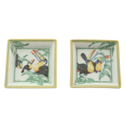 """Hermès Set of 2 ashtrays """"Toucan"""""""