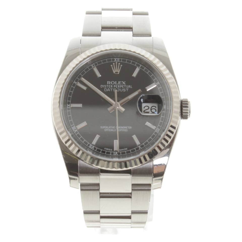 rolex datejust 36 aus edelstahl wei gold second hand. Black Bedroom Furniture Sets. Home Design Ideas
