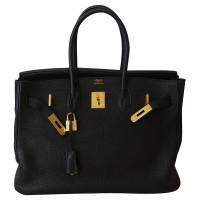 Hermès HERMÉS BIRKIN 35 BLACK TOGO GOLD HW