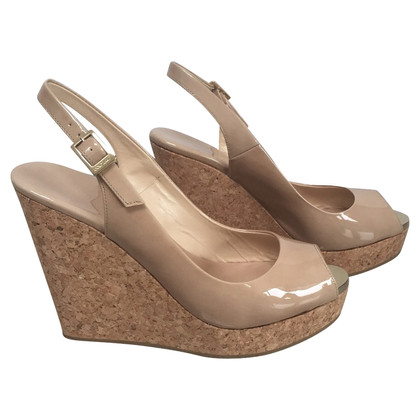 Jimmy Choo Peeptoe wedges in Nude