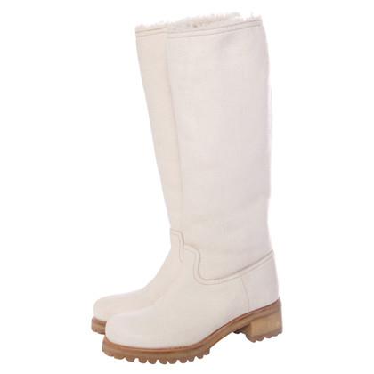 Prada bottes en cuir blanc avec de la laine retournée