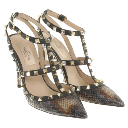 Valentino Rockstud sandals made of phyton leather