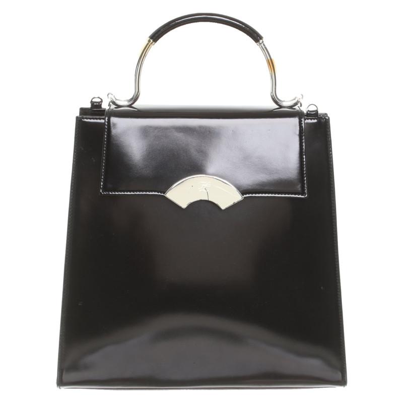 Karl Lagerfeld Handtasche aus Lackleder in Schwarz Second