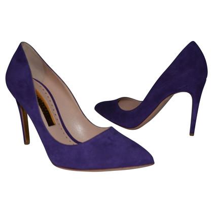 Rupert Sanderson Malory Magenta/Purple Suede Pumps