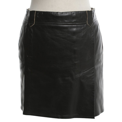 Costume National Leather-skirt in black