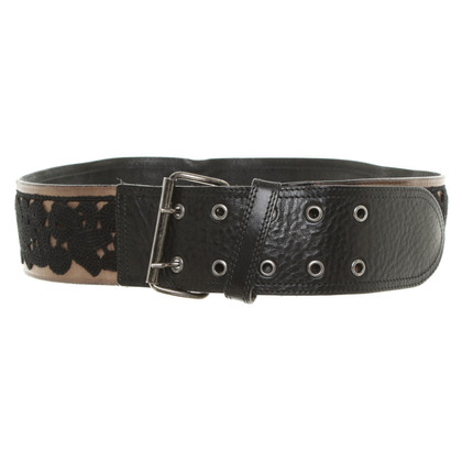 Marc Cain Leather belt with lace trim